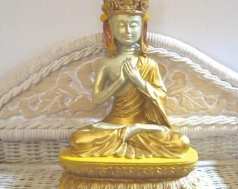 Take 20% OFF Irridescent BUDDHA Gold Bronze Yellow Embellished Sitting Crown Statue