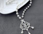 SALE Bridal Pearl Rhinestone Necklace Crystal Wedding Jewelry White or Ivory NK059LX