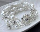 SALE Bridal Pearl Rhinestone Bracelet Triple Strands Bracelet Crystal Wedding Jewelry White or Ivory BL067LX