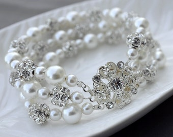 SALE Bridal Pearl Rhinestone Bracelet Triple Strands Bracelet Crystal Wedding Jewelry White or Ivory BL067LX