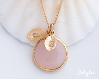 Personalized Necklace - Pink Chalcedony Necklace - Customize Initials Necklace - Gemstone Necklace - Gold Necklace