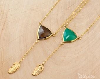 Lariat Necklace - Gold Y Necklace - Layering Necklace - Smokey Quartz - Chrysoprase - Statement Necklace - Gold Necklace - Drop Necklace