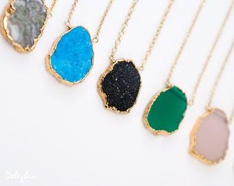 Gemstone Slice Pendant Necklace -  Layered Necklaces - Electropformed Slice - Gold Necklace - Layering Jewelry - Boho Jewelry - Framed Stone