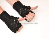 Cozy Fingerless Gloves Black Wool Knit Fingerless Mittens Arm Warmers Women's Hand Warmers Wrist Warmers