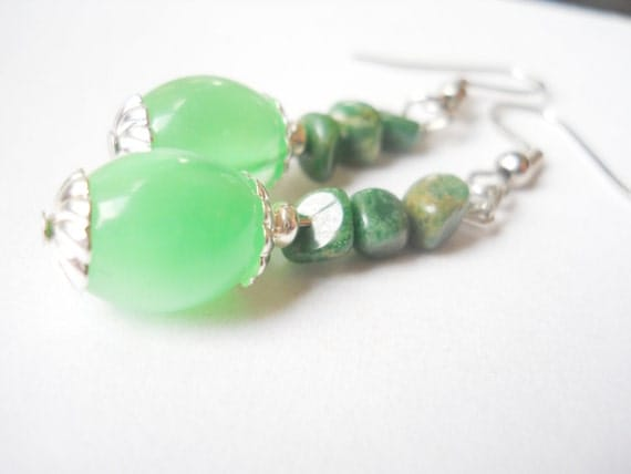 sea green earrings green earrings seaglass by