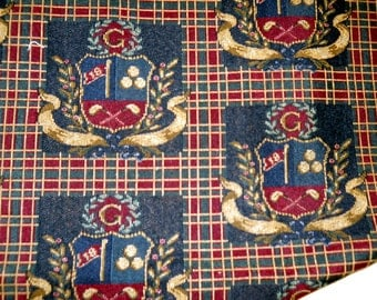 Three Vintage 24x 24 inch Golf Themed Fabric for Pillow Tops or Chair Seat Covers