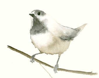 Bird Watercolor Print Chicadee