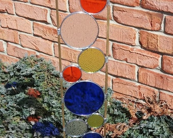 Stained glass garden art stake blue orange chartreuse outdoor yard decoration modern garden art sculpture