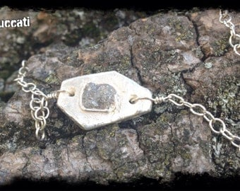 Raw rough diamond one of a kind pendant bracelet-mother's day present