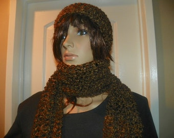Rustic Scarf and Hat Set Hand Crochet Teen Adult Set
