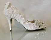Twinkle Toes .. Vintage Lace Wedding Shoes ..Lace Bridal Shoes .. Crystals and Pearls ..  mid-heel pumps .. FREE Shipping within the USA