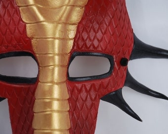 Red, Gold, and Black Leather Dragon Mask