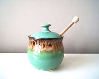 Honey Pot, Sugar Jar, Sugar Bowl, Handmade Pottery, Ceramics, MADE TO ORDER, by RiverStone Pottery