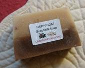sale-CRANBERRY ALMOND-Goat milk Bath/Shower Bar-by Happy Goat