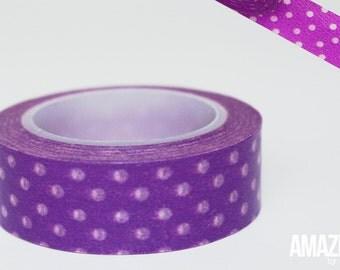 Purple & White dotted washi tape - Paper Masking Tape
