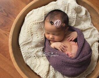 RTS, Purple Newborn Knit Wrap, Includes FREEBIE, Newborn Cheesecloth, Newborn Photo Prop, Purple Knit Newborn Wrap, Newborn Scarf Wrap