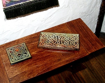 Celtic Knotwork Trivets, Set of 2, Dollhouse Miniature 1/12 Scale, Hand Made
