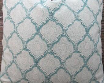 Designer Pillow Cover - Lumbar, 16 x 16, 18 x 18, 20 x 20, 22 x 22, 24 x 24 - Echo Kashmira Aquamist 135