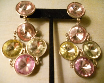 Dramatic Party Earrings - Beautiful Purple Green Pink Clear Yellow Cabochons To Dance the Night Away