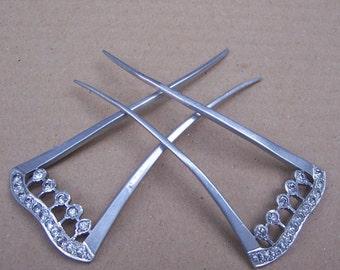 Vintage hair comb 2 Victorian aluminium rhinestone hair accessory hair pin hair pick hair slide hair jewelry hair ornament headdress
