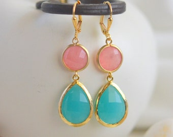Coral Pink and Turquoise Stone Dangle Earrings in Gold.  Bridesmaid Jewelry. Drop Earrings. Dangle Earrings. Holiday Gift. Christmas Gift.