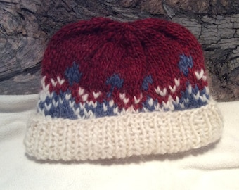 Hand-knit, Nordic Design, Red, White and Blue Lopi Wool Cap
