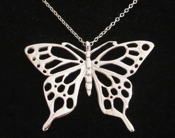 Cutout big BUTTERFLY sterling silver pendant with necklace chain