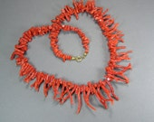 Branch Coral Necklace,Vintage Italian Jewelry, Red Coral Necklace