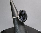 Betsy Barron Ring, Sterling Ring, Black Stone or Glass, Modernist Industrial, Statement Ring Signed Size 6