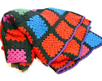 Wool Afghan - Vintage Geometric Color Block Lap Throw
