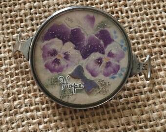 Vintage Handcrafted Purple Floral Bracelet Piece