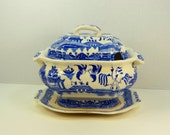Vintage Blue Willow Tureen with Plate JAPAN Old Patina Dinning Kitchen Party Holiday Dinner