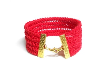 Crochet braid fiber bracelet SCARLET RED cotton yarn, gold metal lobster lock