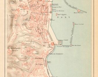 1905 Original Antique City Map of Algiers