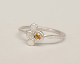 Yellow sapphire and sterling silver little stacking ring