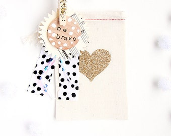 Gold, Silver, Black Glitter Heart Favor/Gift Cloth Bags  - Available in Three sizes Small/Medium/Large