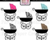 Elegant Pram Clipart - Baby Shower Clipart - Baby Carriage Clipart - Damask Animal Print