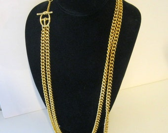 Double Gold Chain Great Clasp Classic Vintage