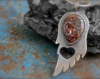 Crazy Lace Agate set in an Etched Sterling Silver Angel Wing