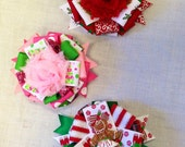 Christmas Ribbon Bow Clips Set of 3