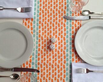 Modern Orange and Aqua Dot Linen Table Runner Weddings Parties Showers Thanksgiving Table