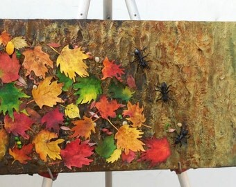 Fall Foliage And Ants - Original Mixed Media Paper Sculpture