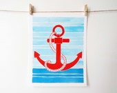 Nautical art, anchor, in red, white, and blue - perfect for a nautical themed room, nautical nursery, beach vacation house, or beach cottage