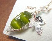 Two Green Peas In A Pod Silver Necklace, Green Cats Eye, Mothers Necklace, Sisters Necklace, Friendship Necklace