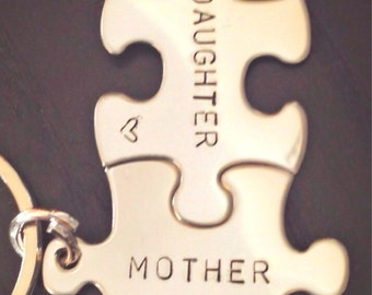 Personalized Puzzle Keychain, Mother Daughter Keychain, Mother Daughter Gifts, natashaaloha