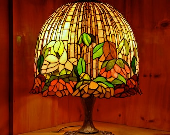 "16"" Magnolia Bell Stained Glass Lamp"