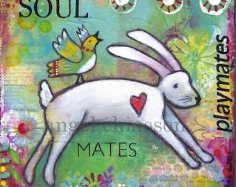Bunny Folk art whimsical painting folk art mixed media nursery decor painting canvas