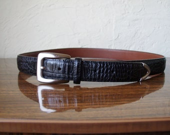 Vintage Brighton Black Moc Croc Leather Belt 36