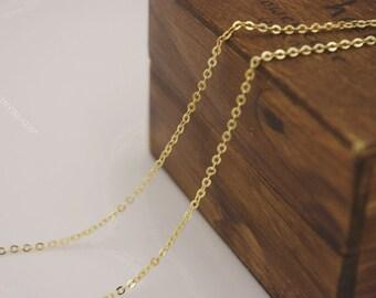 1.5mm thin chain Wholesale-Anti tarnish- 100 feet 16k gold plating dainty brass chain-jewelry handmade must-have-F608