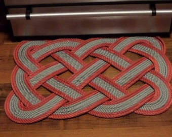 """Doormat 30"""" x 20"""" Silver And Red Rope Rug  INDOORS OR OUTDOORS Eco-Friendly Nautical Beach Coastal"""